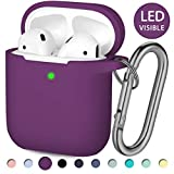 Hamile AirPods Case Protective Cover, [Front LED Visible] Shock Proof Soft Silicone Case Cover Skin Compatible for Apple AirPods 2 & 1, with Keychain (Plum)