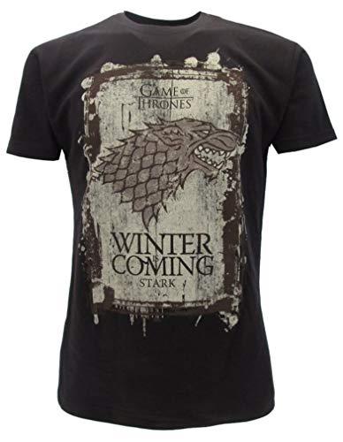 T-Shirt Camiseta WINTER IS COMING Familia Casa STARK Serie de Televisión JUEGO DE TRONOS Game Of Thrones - 100% Oficial HBO (L Large)