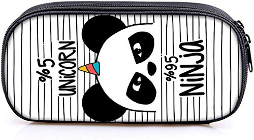 INTVN Panda Astuccio,Grande astuccio quadrato per matite, cancelleria, sacchetto con cerniere per ragazzi e ragazze