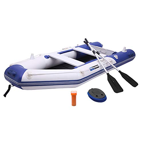 PEXMOR 10ft Inflatable Dinghy Boat 0.9mm PVC Sport Tender Fishing Raft Dinghy with Trolling Motor Transom, Full Floor and Fishing Rod Holders (Blue White)