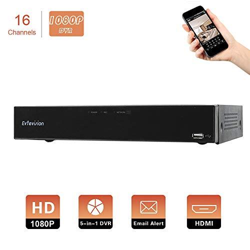 Evtevision DVR 16 Canali 1080P 2MP CCTV Videoregistratore 5 in 1 DVR NVR HDMI Sicurezza Video Recorder Email Allarme di Rilevamento del Movimento per AHD/TVI/CVI/Analog/IP Telecamera di Sorvegli