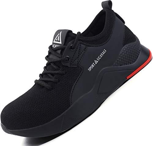 Ucayali Zapatos de Seguridad Hombre Trabajo Verano Zapatillas Trabajar Comodos Ligeros Transpirables Calzado de Seguridad Deportivo Punta de Acero(016 Negro, 43 EU)