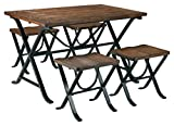 Ashley Furniture Signature Design - Freimore Dining Room Table and Stools - Set of 5 - Medium Brown Wood Top and Black Metal Legs