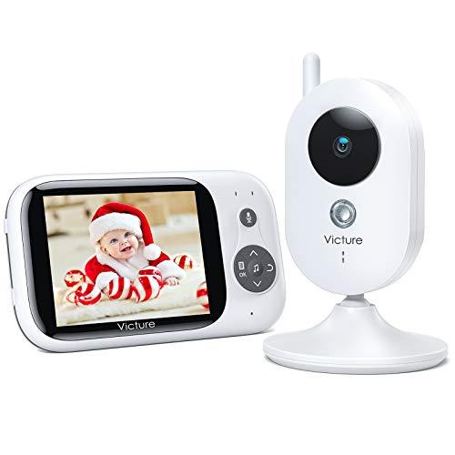 """Victure Vigilabebés Inalambrico con cámara, Bebé Monitor Digital Compatible con Infrarrojos Sala de Visión Nocturna Audio, Charla bidireccional, Canciones de Cuna, Pantalla LCD de 3.2"""""""