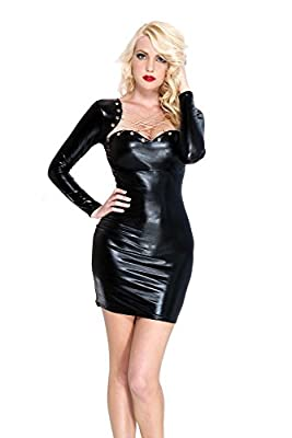 Cut out slit in back Grommets and chain criss cross front Long sleeve
