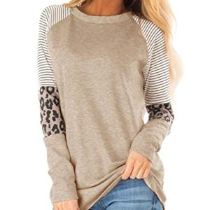 Floral Find Women's Long Sleeve Leopard Color Block Tunic Comfy Stripe Round Neck T Shirt Tops 31