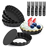 6PCS Mini Egg Tart Pans with Removable Bottom Non-Stick Round Carbon Steel Tart Tins Quiche Pans Tartlet Mold Mini Pie Pans Muffin Cookie Pudding Mold Baking Tool with 5 Pack Plastic Forks