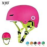 XJD Casco da Bici per Bambini Casco Protettivo Ideale per Bambini e Adolescenti Leggero ma più Sicuro Anche per Skateboard Monopattino Pattini a Rotelle Aggiorna 2.0 (Rosa, S)