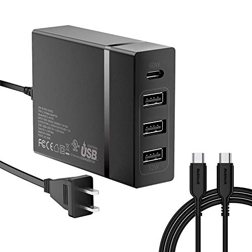 [USB-IF Certified] USB C Charger, Nekteck 4-port 72W USB Wall Charger with Type-C 60W Power Delivery PD Charger Station for 2017 MacBook Pro, Pixel 2/ Pixel/ Pixel XL Galaxy Note 8/ S8/ S9 Plus, Black