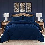 VENESSCO Queen Comforter Set, Down Alternative Quilted Comforter Duvet Insert for Queen Bed, Bedding Comforter Sets with 2 Pillow Shams, All Season Reversible (Queen, Navy Blue)