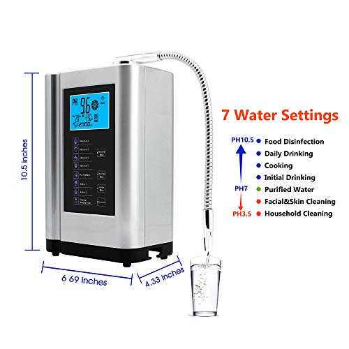 Product Image 2: AlkaDrops Water Ionizer, Water Purifier Machine PH 3.5-10.5 Alkaline Acid Water Machine,Up to -500mV ORP, 6000 Liters Per Filter,7 Water Settings,Auto-Cleaning,Intelligent Voice(silver)