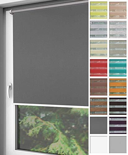 Home-Vision Verdunkelungsrollo Klemmfix, ohne Bohren mit Klämmträgern, Fensterrollo, Seitenzugrollo, Verdunklungsrollo, Lichtundurchlässig Thermorollo (Graphit, B125cm x H150cm)