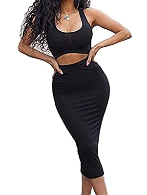 Material:90% Polyester & 10%Spandex, super stretchy,soft and comfortable fabric Tank crop top,midi-skirt,two pieces set,solid color All-purpose style,you can wear top alone,and then match other bottom,like jeans,skirts,shorts,you can wear midi-skirt ...