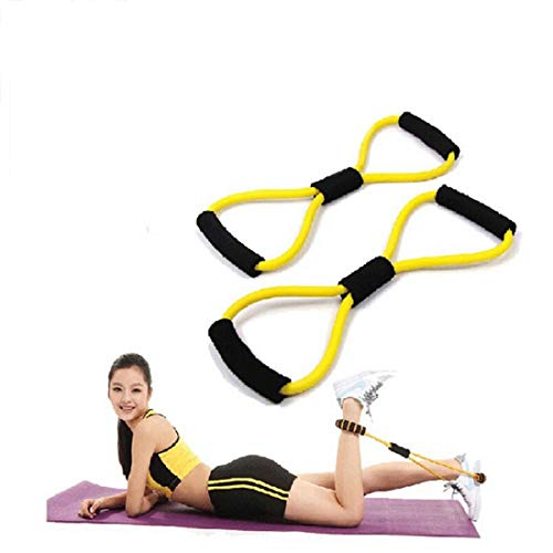 Balaji Collections Total Body Fitness Stretch Body Toning and Stretching Travel Exercise Tube 8 Type Resistance Band Exercise Tube (Multi)