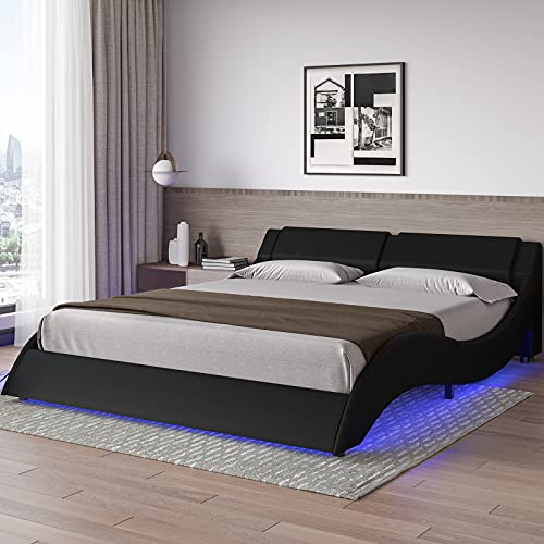 DICTAC Queen led Bed Frame Wave Like Curve Upholstered Bed Frame with headboard Low Profile Platform Bed with LED Lights 16 Colors,Wooden Slats Support,Faux PU Leather,No Box Spring Needed,Black