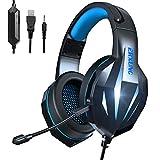 Casque Gaming PS4 - Casque Gaming PC 7.1 Surround Sound Lumière Stéréo Bass...