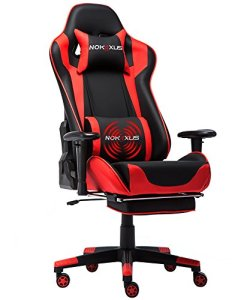 Nokaxus Gaming Chair Large Size High-Back Ergonomic Racing Seat with Massager Lumbar Support and Retractible Footrest PU Leather 90-180 Degree Adjustment of backrest Thickening sponges (YK-6008-RED)