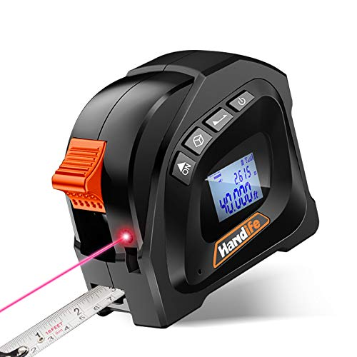 Laser Tape Measure 2-in-1,Distance Measuring Tape Laser Measure with LCD Digital Display,131 Ft/40M, Tape Measure 16 Ft /5M for Distance, Area, Vol, Pythagorean Calculations, DIY Construction