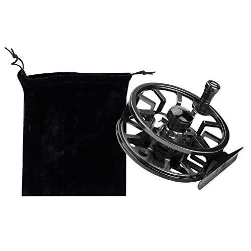Tbest Mulinello da Pesca a Mosca, 2 + 1BB Mulinello da Mosca Leggero Full Metal Sinistra Destra Mulinello da Pesca con Mulinello da Pesca a Mosca con Custodia(85MM-Nero)