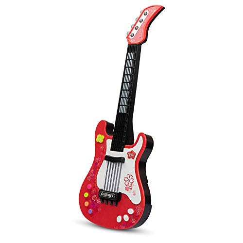aPerfectLife Kids Electric Guitar Toys with Vibrant Sounds No String Musical Instruments Educational Toy for Beginner Boys Girls Toddlers (Red)