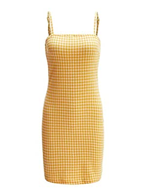 Fabric has some stretch Spaghetti strap, sleeveless, plaid print, zipper back, sheath Perfect for vacation, daily, office, clubwear, street and cocktail party Please refer to the last image of size information or item description below for real size ...