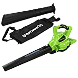 Greenworks Tools GD40BV Cordless Leaf Blower and Vacuum 2-in-1 (Li-Ion 40 V 280 km/hour Air Speed 45 l Bag Speed Control Powerful Brushless Motor without Battery and Charger)