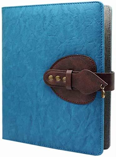 Cuaderno de piel sintética, diario de viaje, cuaderno de 6 anillas, recargable, cuaderno de negocios, con bolsillo, agenda de viaje y conferencias, tamaño A5, 200 páginas gruesas
