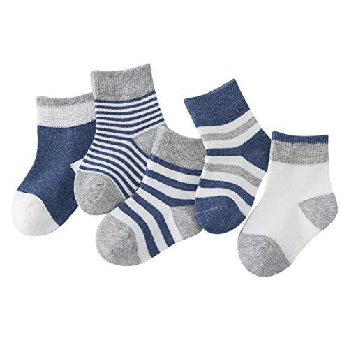 DEBAIJIA Calzini per bambini 5 in 1 Set Calzini per ragazzi in maglia per bimbe, ragazze in cotone colorato, elastico, blu scuro - S