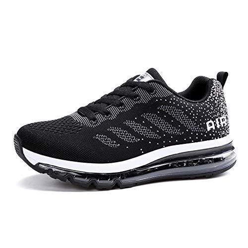 Smarten Zapatillas de Running Hombre Mujer Air Correr Deportes Calzado Verano Comodos Zapatillas Sport Black White 38 EU