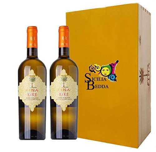 Sicilia Bedda - Terre Siciliane IGT Traminer Aromatico Sauvignon Blanc Kik Fina 2019 75 CL - Vari Formati con Cofanetti Esclusivi (2 Bottiglie in Box Legno)