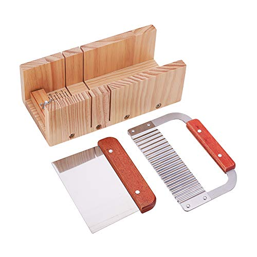 PH PandaHall Adjustable Wooden Soap Cutter Mold with Wavy Straight Planer Blade Scraper Cutting Tool Set