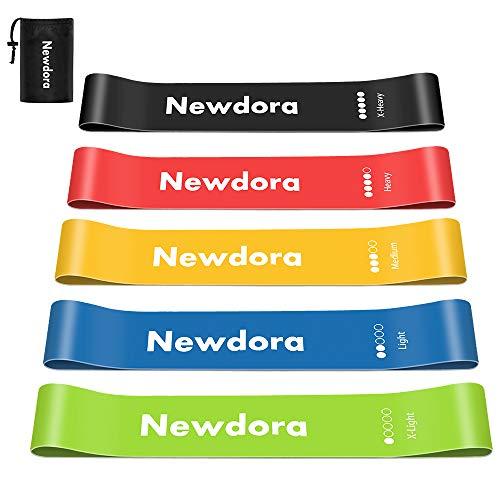 Newdora, fasce elastiche per fitness, set di 5 fasce elastiche di resistenza, per allenare gambe...