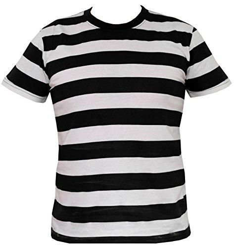 Rock Star Academy en blanco y negro n diseño a rayas T-camiseta de manga corta