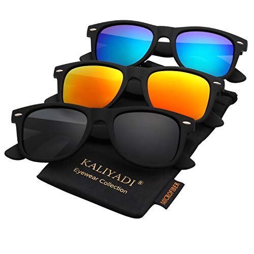 Polarized Sunglasses for Men and Women Matte Finish Sun glasses Color Mirror Lens 100% UV Blocking (3 Pack)