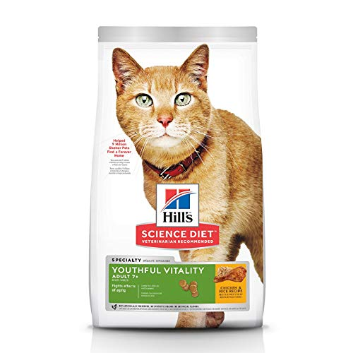 Hill's Science Diet Dry Cat Food, Adult 7+ for Senior Cats, Youthful Vitality Chicken & Rice Recipe, 13 lb Bag
