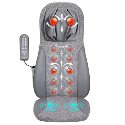 Naipo Shiatsu massagesitzauflage,Sitzkissen mit Kneten,massageauflage,Vibrationsmassage,Rückenmassagegerät mit Wärme für einstellbare Nacken-, Schulter-, Rücken- und Oberschenkelmassage,massagematte