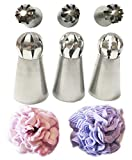 New Ball Russian Stainless Steel Tips Tulip Sphere Whip Cream Buttercream Icing Piping Nozzles DIY Baking Tools Small Torch for Decoration Cupcake Fondant Cake or any Pastry (3 pcs Ball Russian tips)