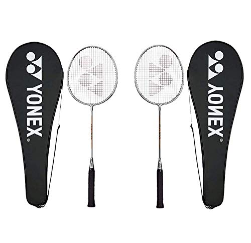Yonex GR 303 Badminton Racket 2018 Professional Beginner Practice Racquet with Face Cover Steel Shaft - Pack of 2