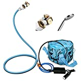 HAOWIN Portable Misting System, Outdoor Shower Kit& Garden Hose Mist 3-in-1, with Aluminum Cobra Mist Stand, Water Pump, Power Bank, Foldable Bucket& Shower Head, for Beach, Picnic,Camping,Travel etc