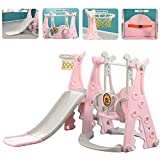 Toddler Climber and Swing Set Slide Swing Combo 3 in 1 Climber Sliding Playset w/Basketball Hoop for Kids Safe Slide Swing (Pink)