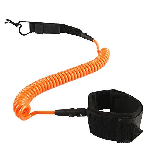HOGAR AMO 7mm 10 Ft aufgerollten TPU Surfboard Leash Paddel Sicherungsleine Paddelboard-Leash Fußschlaufe Klettverschluss Orange
