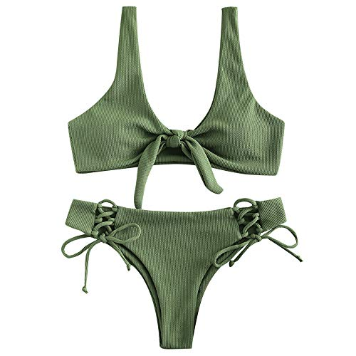 ZAFUL Damen Gerippter Geknoteter Bikini-Set Sexy Brazilian Bikini Gepolsterter Badeanzug Beachwear (Hellbraunes Grün M)