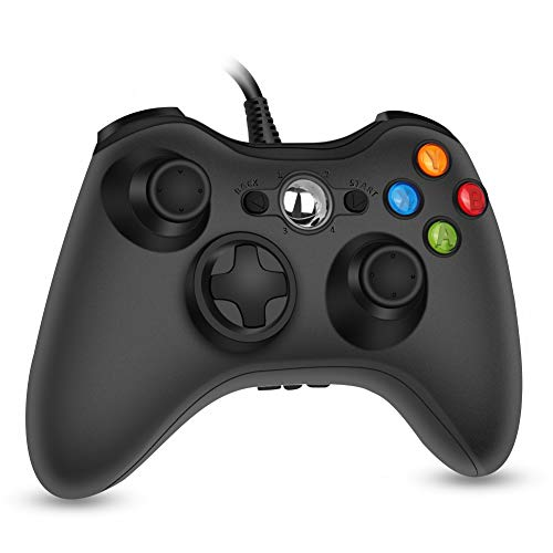 RegeMoudal Xbox 360 PC Game Wired Controller for Microsoft Xbox 360 and Windows PC (Windows 10/8.1/8/7) with Dual Vibration and Ergonomic Wired Game Controller (Black 1)