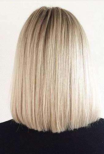 Sunny Pelucas de Cabello Natural Corto BoB Wig 130% Densidad Pelucas de Cabello Humano Extensiones Ombre Lace Front #10 Dorado Marrón Ombre #60 Rubia 12 Pulgadas