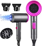 Ionic Hair Dryer, 1800W Professional Blow Dryer (with Powerful AC Motor), Negative Ion Technolog, 3 Heating/2 Speed/Cold Settings, Contain 2 Nozzles and 1 Diffuser, for Home Salon Travel Pregnant Kids
