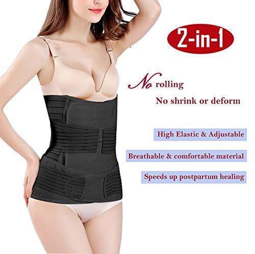 2 in 1 Postpartum Support Recovery Belly Wrap Waist/Pelvis Belt Body Shaper Postnatal Shapewear,Plus Size 5