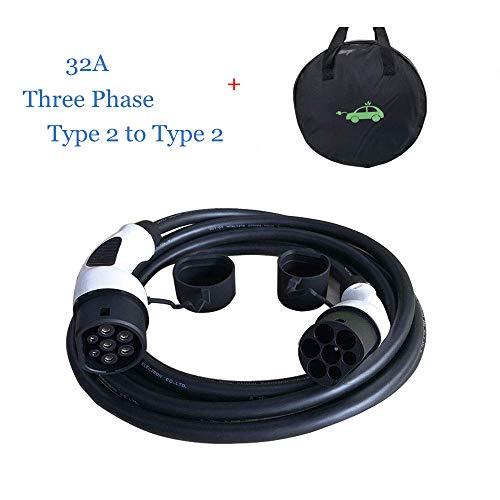 K.H.O.N.S. EV Cable de Carga Tipo 2 a Tipo 2 32A,Trifásico, 22KW/11KW (3 Fases) 5M Cable y Bolsa
