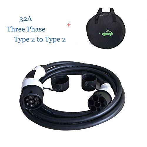 K.H.O.N.S. EV Cable de Carga Tipo 2 a Tipo 2 32A IEC62196-2 Trifásico, 22KW/11KW (3 Fases) EVSE Conectores de Carga para Vehículos Eléctricos, 5M Cable y Bolsa