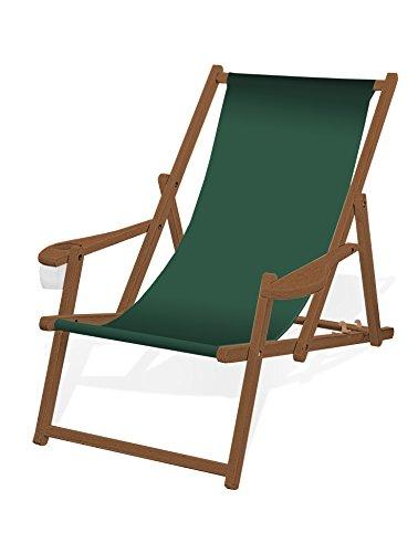Holz-Liegestuhl mit Armlehne und Getränkehalter, Klappbar, mit dunkelbrauner Lasur, Wechselbezug (Tannengrün)