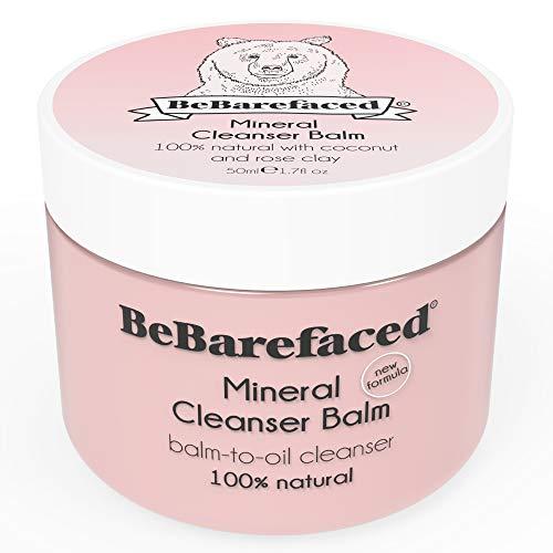 Bálsamo de limpieza facial vegano y natural de BeBarefaced con arcilla rosa mineral y aceite de coco – Limpiador facial humectante y antienvejecimiento para la piel seca – Con vitamina E